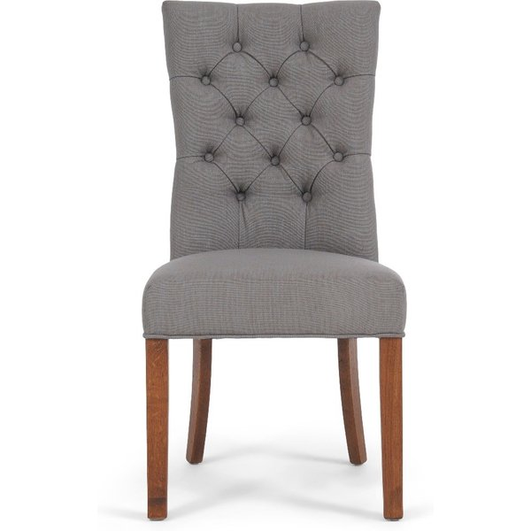 Anais Grey Fabric Dark Oak Leg Dining Chairs - Grey, 2 Chairs