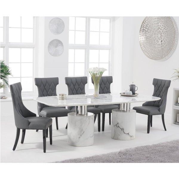 Antonio 220cm White Marble Table with Freya Chairs - Cream, 6 Chairs