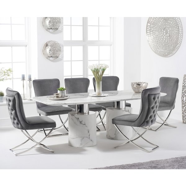 Antonio 220cm White Marble Table with Giovanni Chairs - Grey, 6 Chairs