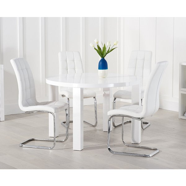 Atlanta 120cm White High Gloss Round Dining Table with Lorin Chairs
