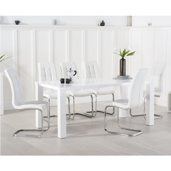 Atlanta 200cm White High Gloss Dining Table with Lorin Chairs