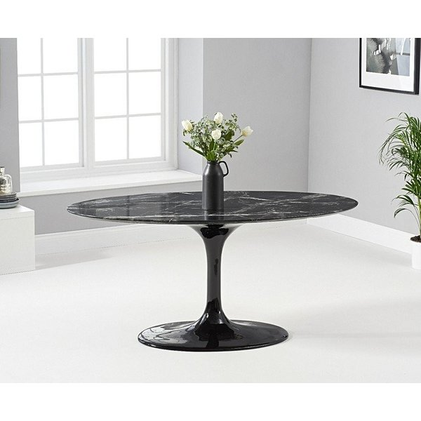 Ex-display Brighton 160cm Marble Oval Black Dining Table