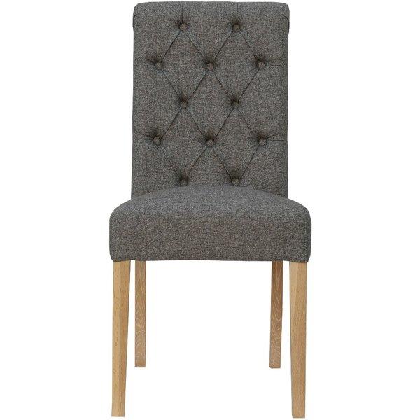 Alessi Dark Grey Button Back Chairs - Dark Grey, 2 Chairs