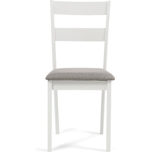Chiltern White Dining Chairs with Fabric Seats - White, 2 Chairs