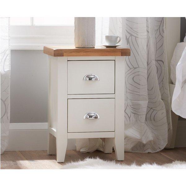 Eden Oak and White 2 Drawer Bedside Table