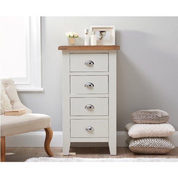 Eden Oak and White 4 Drawer Narrow Chest