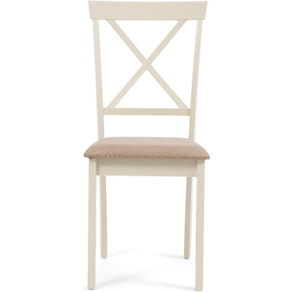 Epsom Oak and Cream Dining Chairs with Fabric Seats - Cream, 2 Chairs