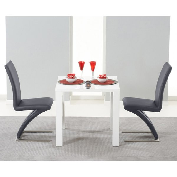 Atlanta 80cm White High Gloss Dining Table with Hampstead Z Chairs