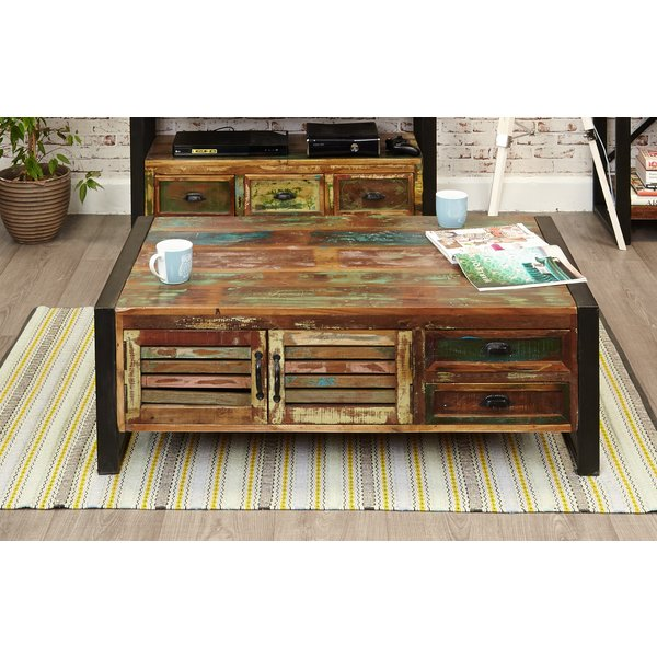 Downtown Modern 4 Door 4 Drawer Large Coffee Table