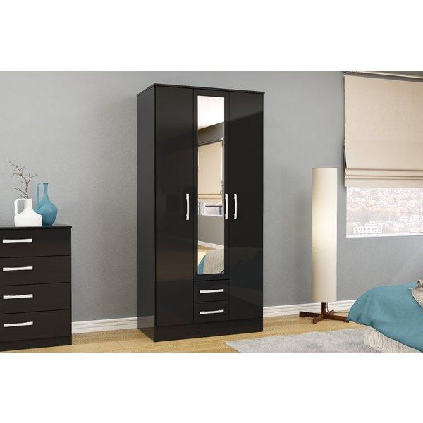 Adalee Black 3 Door 2 Drawer Wardrobe with Mirror