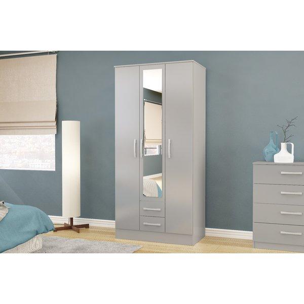 Adalee Grey 3 Door 2 Drawer Wardrobe with Mirror