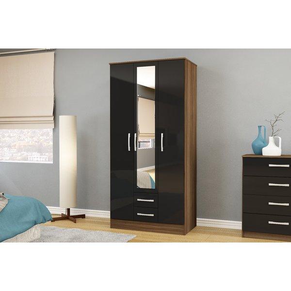 Adalee Walnut & Black 3 Door 2 Drawer Wardrobe with Mirror