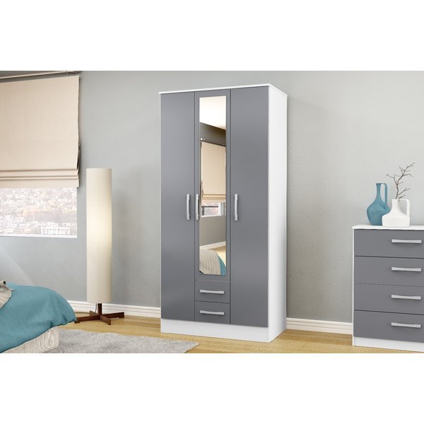 Adalee White & Grey 3 Door 2 Drawer Wardrobe with Mirror
