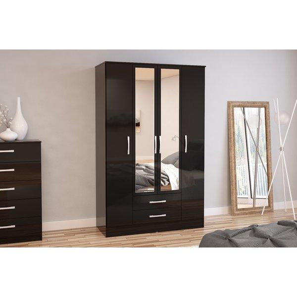 Adalee Black 4 Door 2 Drawer Wardrobe with Mirror