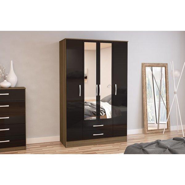 Adalee Walnut & Black 4 Door 2 Drawer Wardrobe with Mirror