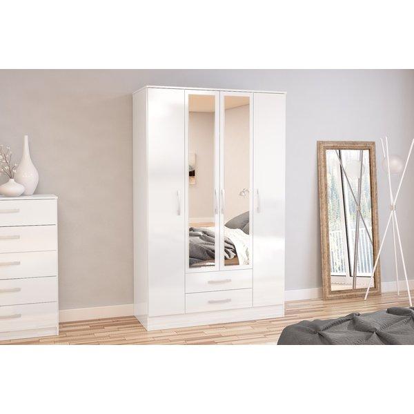 Adalee White 4 Door 2 Drawer Wardrobe with Mirror
