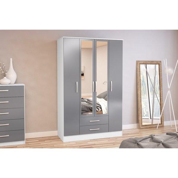 Adalee White & Grey 4 Door 2 Drawer Wardrobe with Mirror