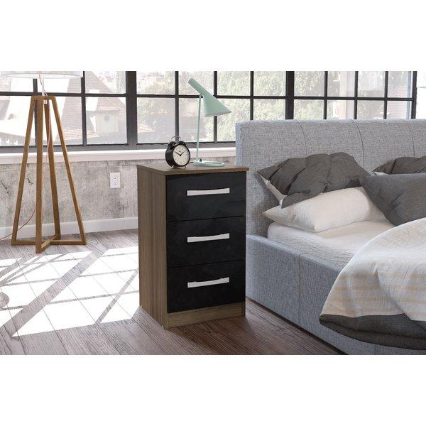 Adalee 3 Drawer Walnut & Black Bedside Table
