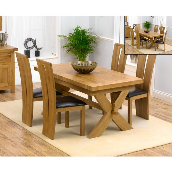 Bordeaux 160cm Solid Oak Extending Dining Table with Montreal Chairs - Brown, 4 Chairs