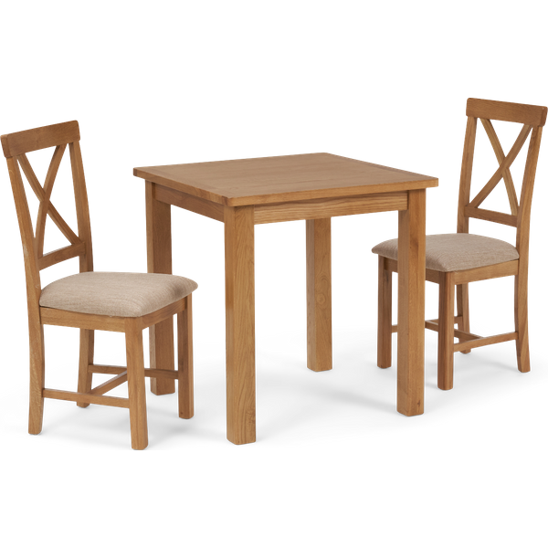 Noah Square Dining Table with Cross Back Chairs - Oak, 2 Chairs