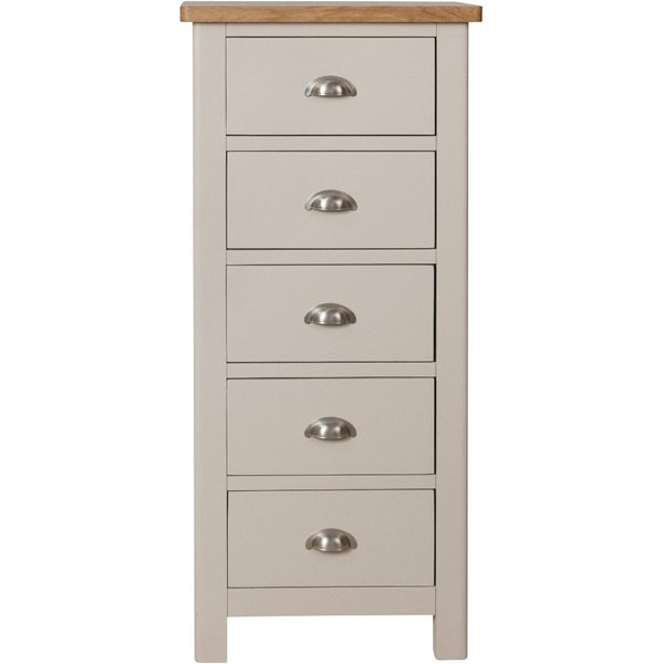 Fay Oak and Grey 5 Drawer Narrow Chest