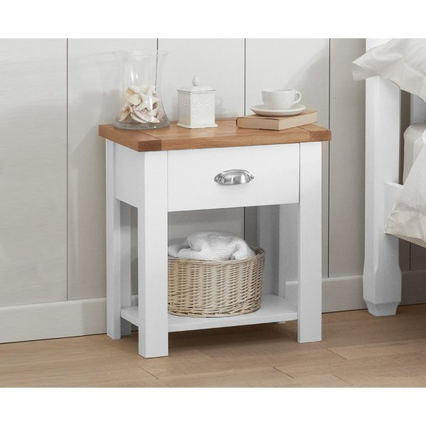 Somerset Oak and White Bedside Table