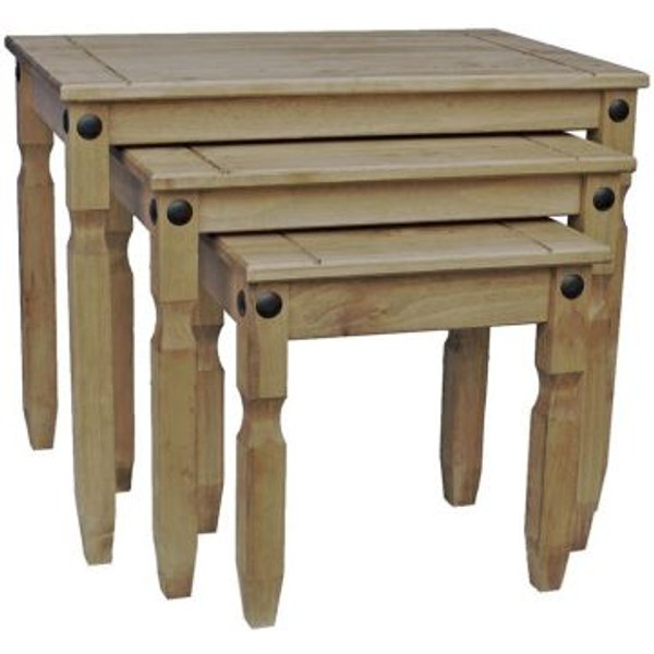 1. Corona Distressed Waxed Nest Of Tables Furniture: £34.99, QD stores