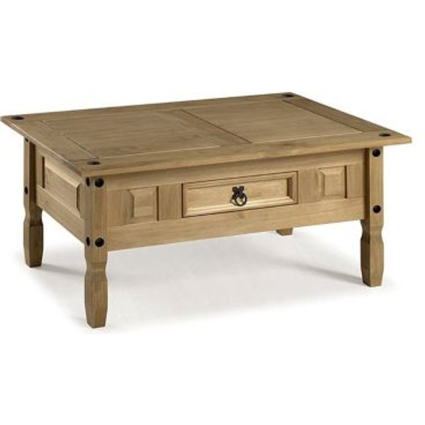 31. Corona Distressed Waxed Pine Coffee Table Furniture: £49.99, QD stores