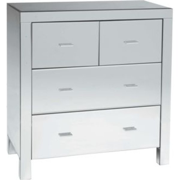 7. 4 Drawer Contemporary Glass Mirrored Sideboard: £229.99, QD stores
