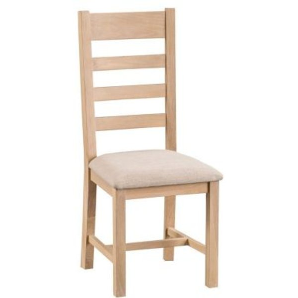 21. Monica Oak Ladder Back Dining Chair with Fabric Seat: £100, QD stores