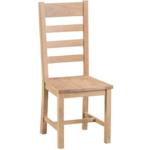 22. Monica Oak Ladder Back Dining Chair with Wooden Seat: £110, QD stores
