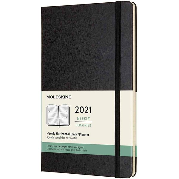 Black Large Horizontal Weekly Hard Diary 2021