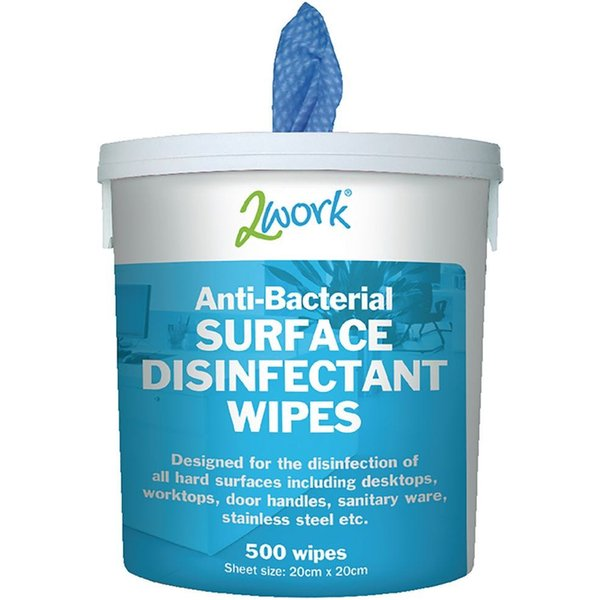 2Work Disinfectant Wipes Tub of 500 Wipes