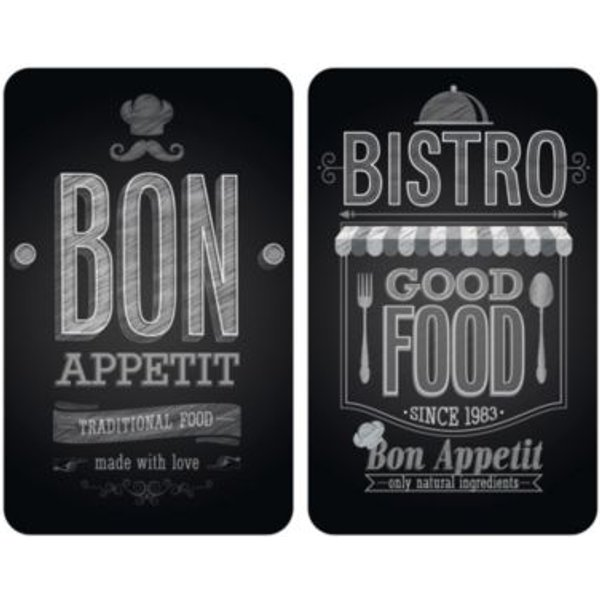 Plaques de protection en verre «Bon app», 2 pièces