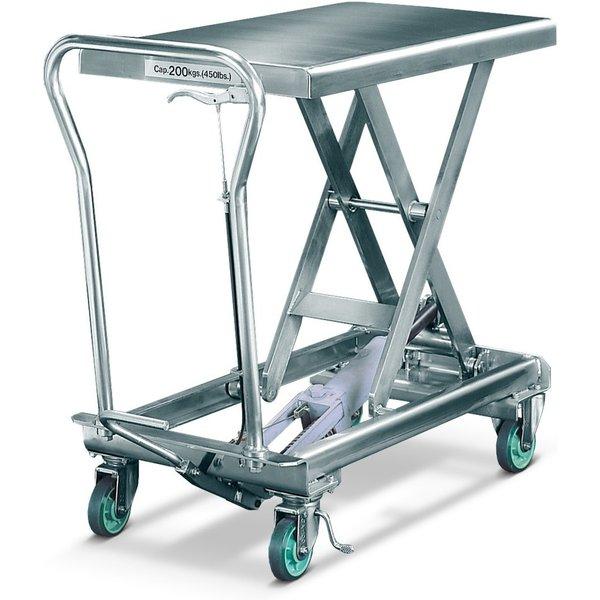Einfaches Heben und Senken durch manuelle Fuß- und Handhydraulik Der Edelstahl-Scheren-Hubtischwagen