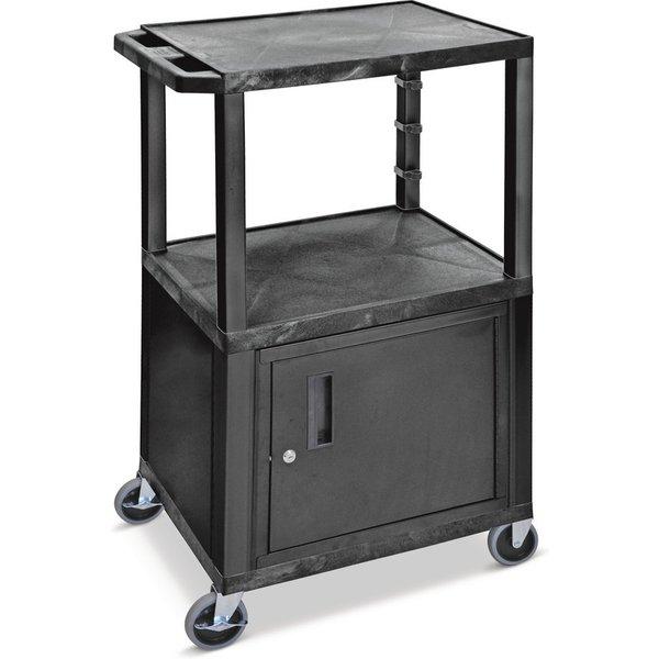 Ablagefläche und Stauraum in einem Der Kunststoff-Transportwagen BASIC mit Unterschrank ist aus dem