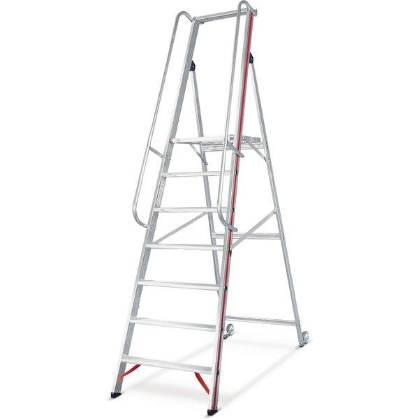 Die Plattformleiter HYMER mit Kipprollen für sicheres Arbeiten Die Stehleiter garantiert hohe Sicher