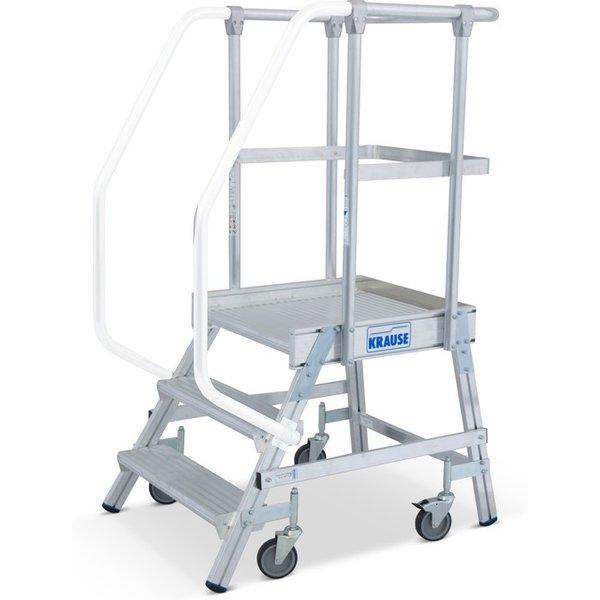 Stabil und zeitgemäß – Podesttreppe KRAUSE® mit Geländer und Rollen Legen Sie bei Ihren Tätigkeiten