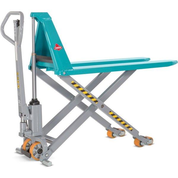 Ergonomisches Arbeiten in komfortabler Arbeitshöhe Der handhydraulische Scheren-Hubwagen Ameise® ist