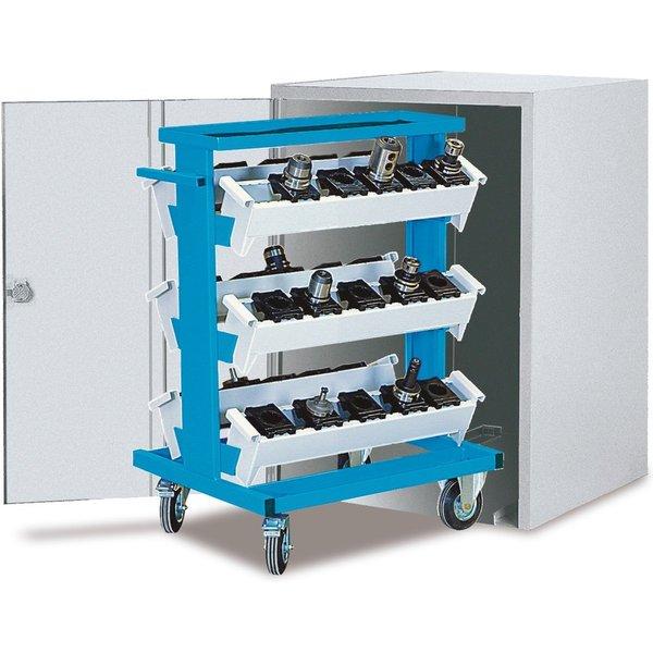 Aus Stahlblech gefertigter Schrank für den CNC-Werkzeugwagen | Abschließbar mit Zylinderschloss, 2 S