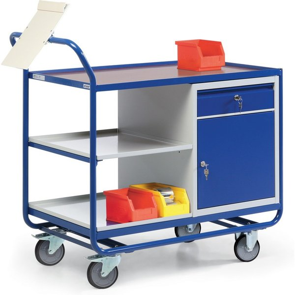 Als Ablage und für die Arbeit hervorragend geeignet Der robuste Werkstattwagen ist aus einer geschwe