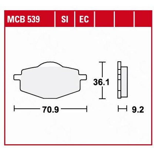 TRW Lucas Bremsbeläge organisch MCB539 70,9x36,1x9,2mm