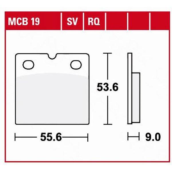 TRW Lucas Bremsbeläge organisch MCB19 55,6x53,6x9mm