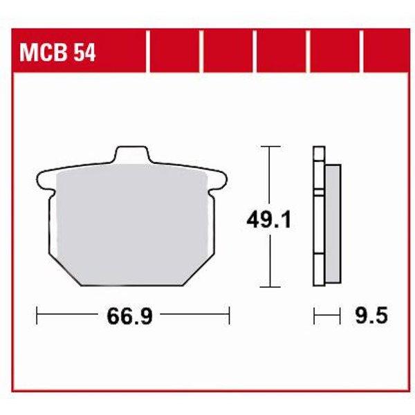TRW Lucas Bremsbeläge organisch MCB54 66,9x49,1x9,5mm