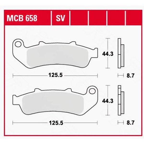 TRW Lucas Bremsbeläge organisch MCB658 125,5x44,3x8,7mm