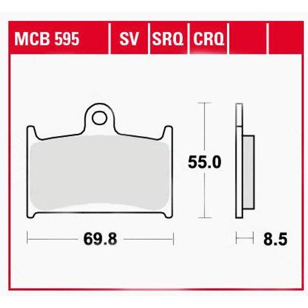 TRW Lucas Bremsbeläge organisch MCB595 69,8x55x8,5mm