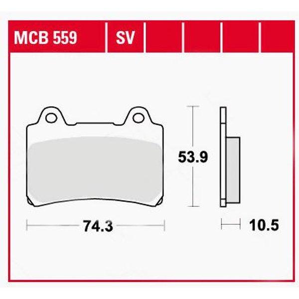TRW Lucas Bremsbeläge organisch MCB559 74,3x53,9x10,5mm