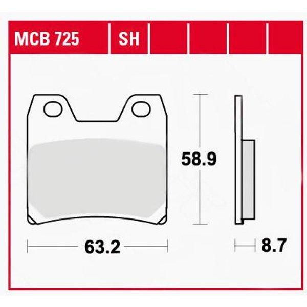 TRW Lucas Bremsbeläge organisch MCB725 63,2x58,9x8,7mm