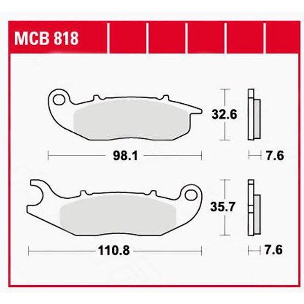 TRW Lucas Bremsbeläge organisch MCB818 98,1/110,8x32,6/35,7