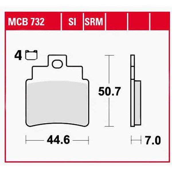 TRW Lucas Bremsbeläge organisch MCB732 44,6x50,7x7mm